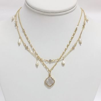 Emily Rose Pearl Layered Necklace in Gold