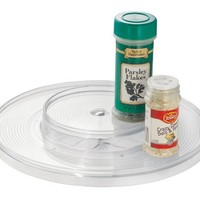 InterDesign Linus Lazy Susan Turntable Spice Organizer Rack for Kitchen Pantry, Cabinet, Countertops - 2-Tier, Clear