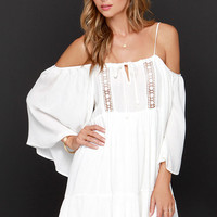 Glamorous You're a Doll Ivory Off-the-Shoulder Dress