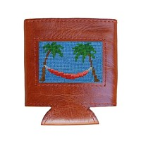 Palm Tree Hammock Needlepoint Can Cooler in Cornflower by Smathers & Branson