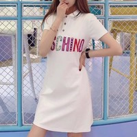"""Moschino"" Fashion Casual Multicolor Letter Short Sleeve Lapel T-shirt Polo Shirt Mini Dress"