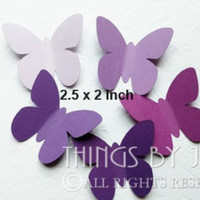 30 Large Purple and Lavender Butterfly Die Cuts,Purple Butterfly Punch, Paper Butterfly, Butterfly Party , Baby Shower  (2 1/2 x 2 inches)