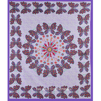 Purple Multicolor Butterfly Wall Decor Mandala Tapestry Wall Hanging Bedspread on RoyalFurnish.com