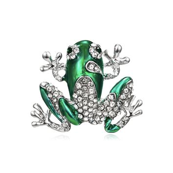 Shiny Green Enamel And Crystal Frog Brooch Pin for Women