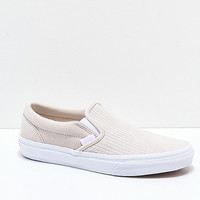 Vans Slip-On Moonbeam & White Embossed Skate Shoes | Zumiez