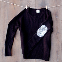 Sequin Elbow Patch Sweater Black Raglan Dazzle Patch Sweater Jumper w/Sequin Elbow Patch Women's Sparkly Elbow Patch Shirt Top