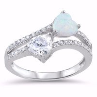 Sterling Silver CZ Lab White Opal Simulated Diamond Two Hearts Ring