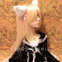 White inner White CAT MOVABLE ears HEADBAND, w or w/o Ribbon n Bell, kitty cat ears headband hairband , Cosplay Costume Party Halloween