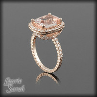Morganite Engagement Ring in Rose Gold - Cushion Cut Peachy Pink Morganite and Diamond Halo - LS2314