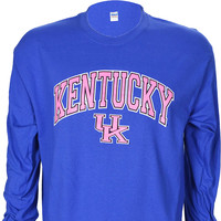University of Kentucky Pink Arch on Long Sleeve Blue T Shirt