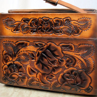 Vintage 1960s Floral Tooled Leather Purse by RogueRetro on Etsy