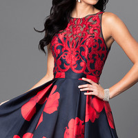 Satin Applique Floral Print Short Dress