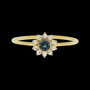 14kt Teal Sapphire and Diamond Sunflower Ring