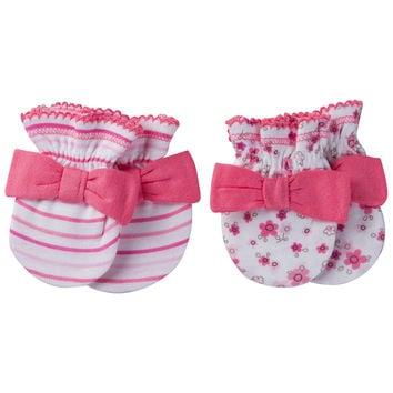Gerber® Size 0-3M 2-Pack Floral/Stripe Mittens in Pink
