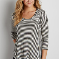 ribbed swing tee with stripes   maurices