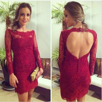 Sexy Dark Red Sheath Lace Long Sleeve Cocktail Dress 2016 Elegant Backless robe de Cocktail Party Dress