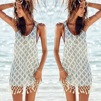 Sexy Women Casual Bathing Suit Sleeveless Tassel Crochet Swimwear Bikini Cover Up Beach Dress = 5657707905
