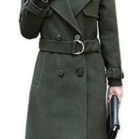 Women's Long Double Breasted Overcoat Slim Wool Trench Belted Coat