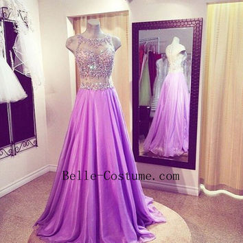 Purple Backless Prom Dresses, See Through Prom Dresses, 2016 Evening Dresses