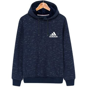 ADIDAS autumn and winter new hooded sports men's casual hooded sweater blue