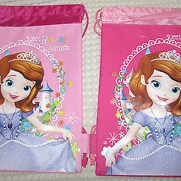 2 LITTLE PRINCESS PINK DRAWSTRING BAG BACKPACKS TRAVEL STRING POUCHES-NEW!!