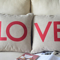 2 handmade linen cotton  RED  LOVE WORDS  printed decorative  printed decorative  pillow case / cushion cover 45cm x 45cm