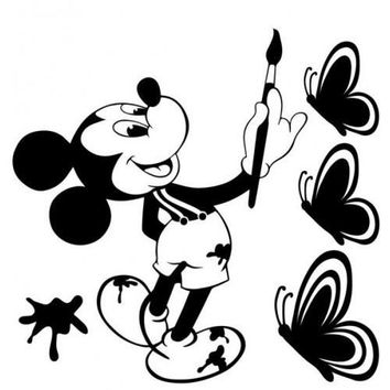 Disney Mickey Mouse Paint Vinyl Graphic Butterfly Decal Car Window Sticker Cute Funny wall