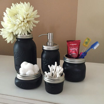 Black Mason Jars Bathroom Set  - Ball Mason Jars - Men's  Decor -Rustic Bathroom Set-Mason Jar Soap Dispenser -Wedding Gifts