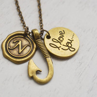 fish hook necklace, fathers day gift, fishing gift, engagement gift, dad gift, long necklace, for husband, friend necklace, i love you dad