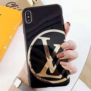 LV new tide brand glossy iPhonexs mobile phone case cover black