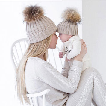 Mom and Baby Matching Knitted Hats Warm Fleece Crochet Beanie Hats