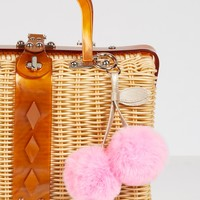 Free People Faux Fur Cherry Pompom Bag Charm