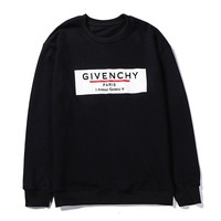 Givenchy autumn and winter new high-grade cotton printed round neck sweater Black