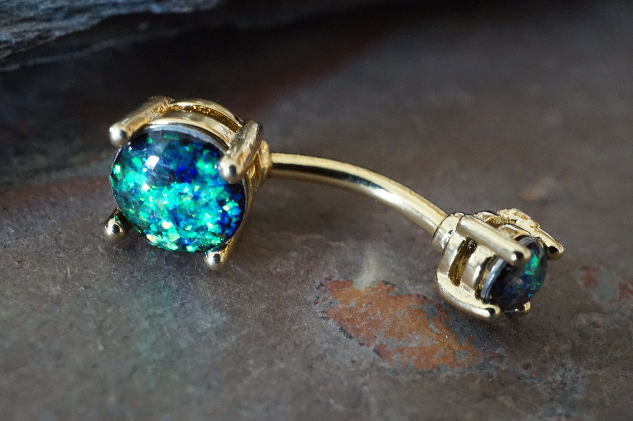 Image of Gold Belly Button Rings Black Opal Belly Button Rings Opal Belly Rings