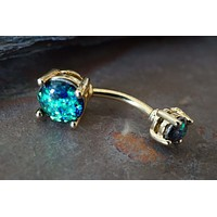 Gold Belly Button Rings Black Opal Belly Button Rings Opal Belly Rings