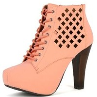 Womens Qupid Puffin-62 Lace Up Cut Out Ankle Boots PEACH 8.5 New: In Box