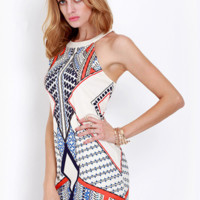 Versace Fashion round-collared sleeveless bridle geometric digital Printed Dress