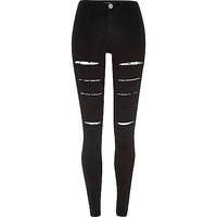 River Island Womens Black super slashed front Molly jeggings