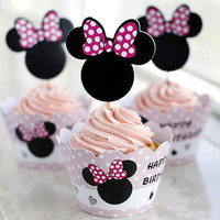 7Type 24Pcs lot Mickey Mouse Cupcake Wrappers Toppers Cake Picks Birthday Party Kids Birthday Party Decoration Set CT1041