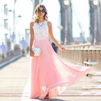 Crochet Women Sexy Lace Dress 2016 Summer Elegant O neck Sleeveless Maxi Party Dresses Chiffon Vestidos Long Robes Longue Femme