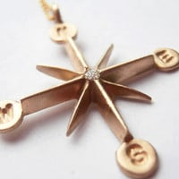 Pablo Valencia- 14K Gold and Diamond Compass Wind Rose Necklace