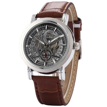 Hot Sale Original brand Winner Fashion Leather Casual Classic Self-winding AUTO Mechanical Skeleton Business Watch Brown Band = 1932704196