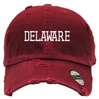 DELAWARE Embroidered Distressed Baseball hat