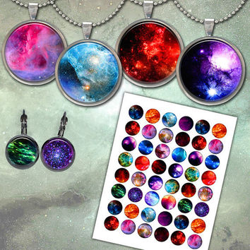 Nebula images Space Galaxy for Jewelry Making, Bottle caps, Stickers, Earrings Printable Digital Collage Sheet NC3