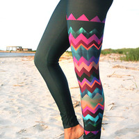 LEGGING - 'LIDO WEST - Chevron' Style Legging for surf,  Yoga, Running, Biking, sup, kitesurf, wakeboard