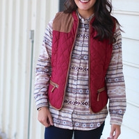 Quilted Puffer Vest with Suede {Burgundy}