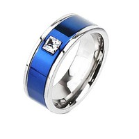 Center Blue - FINAL SALE Square CZ Detailed Two Tone Blue IP and Titanium Ring