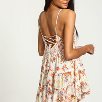 BEIGE CORSET BACK FLORAL RUFFLED CAMI DRESS