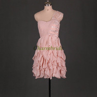 Pleated chiffon prom dresses with one lace shoulder / cheap gowns for party on sale / unique holiday dresses / short homecoming dress