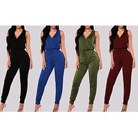 Classic Deep V Sleeveless Long Pants Jumpsuit, Sizes S - XL, 1PC